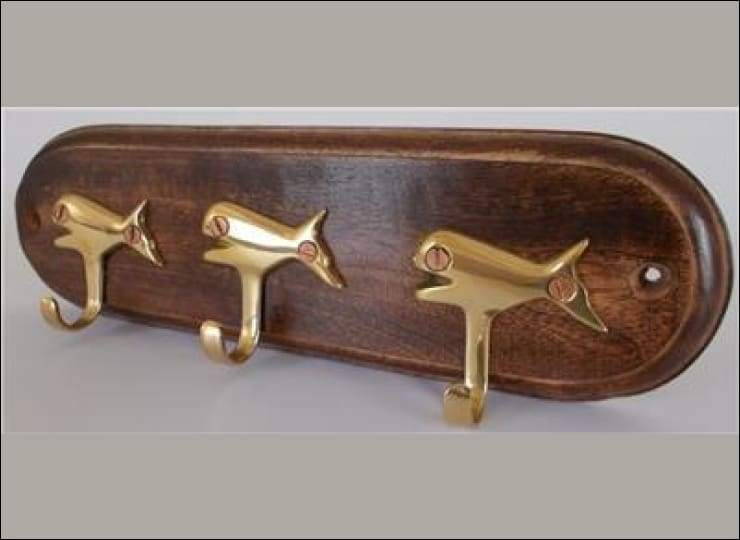 Whale Key Rack - Brass Whales Hooks Mounted on Wood