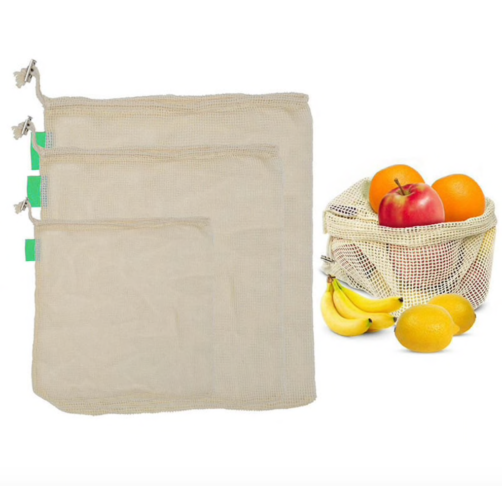 Set of 3 Reusable Mesh Produce Bags with tare weight