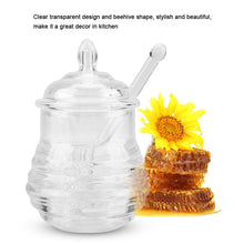 Load image into Gallery viewer, Transparent Beehive-shaped Honey Jar with Dripper Stick