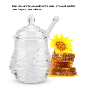 Transparent Beehive-shaped Honey Jar with Dripper Stick