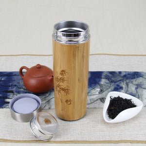 Bamboo Stainless Steel Thermos Bottle