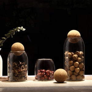 Creative Glass storage Jars with cork lid.
