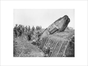 A Mark IV (Male) tank of 'H' Battalion, 'Hyacinth', ditched in a German trench while supporting 1st Battalion, Leicestershire Regiment near Ribecourt during the Battle of Cambrai, 20 November 1917.
