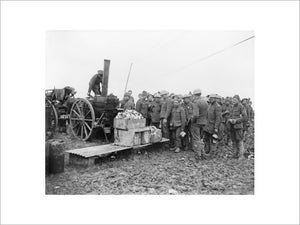 Soldiers waiting by a travelling field kitchen for their dinner, Aveluy, Somme, November 1916.