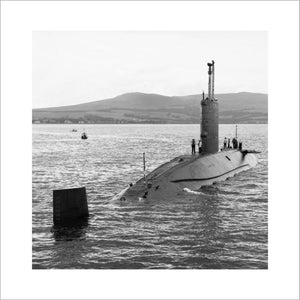 HMS CONQUEROR at Faslane on 3 July 1982 after her deployment to the South Atlantic during which she sank the Argentine cruiser GENERAL BELGRANO on 2 May 1982.