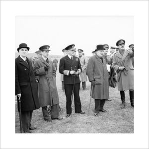 Winston Churchill with his scientific advisor Lord Cherwell (extreme left), Air Chief Marshal Sir Charles Portal and Admiral of the Fleet Sir Dudley Pound, watching a display of anti-aircraft gunnery, June 1941.