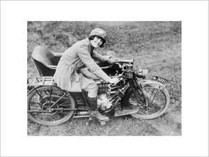 A motorcyclist with the Women's Royal Air Force (WRAF) on a Clyno motorcycle combination.