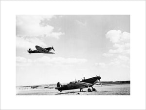 Supermarine Spitfire Mk Is of No. 19 Squadron RAF at Fowlmere near Duxford, 1940.