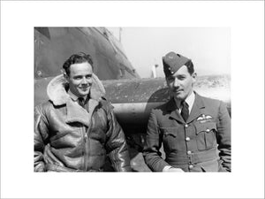 "Squadron Leader Marmaduke Thomas St John ""Pat"" Pattle, Officer Commanding No. 33 Squadron RAF, and the Squadron Adjutant, Flight Lieutenant George Rumsey, standing by a Hawker Hurricane at Larissa, Thessaly, Greece."