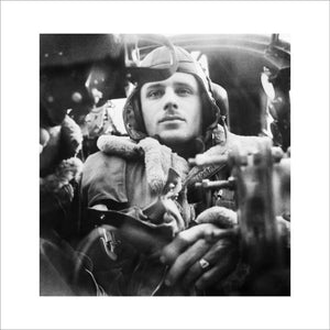 The Royal Air Force: The rear gunner in his position in a Wellington bomber.