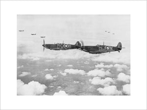 Supermarine Spitfire Mark Is of No. 610 Squadron based at Biggin Hill, flying in 'vic' formation, 24 July 1940.