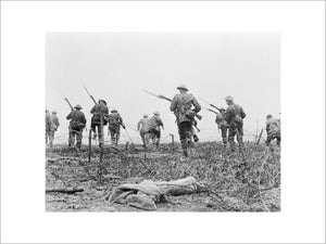 "Still from the film ""The Battle of the Somme"" allegedly showing British troops advancing at the start of the battle on 1 July 1916. It is now accepted that this scene was staged for the camera at a training school behind the lines."