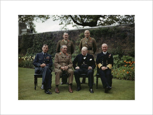 Winston Churchill with his Chiefs of Staff in the garden of 10 Downing Street, 7 May 1945.