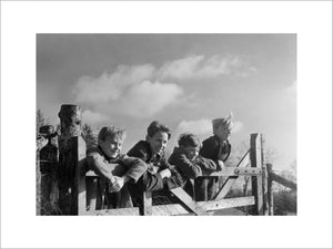 A group of boys evacuated from London and the Thames Estuary at Totnes in South Devon, 1941.