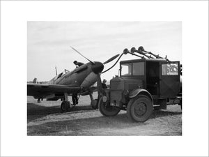 Refuelling a Spitfire of No 19 Squadron at Fowlmere during the Battle of Britain, September 1940.