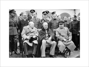 The Big Three': Winston Churchill, Franklin D Roosevelt and Joseph Stalin sit for photographs during the Yalta Conference in February 1945.