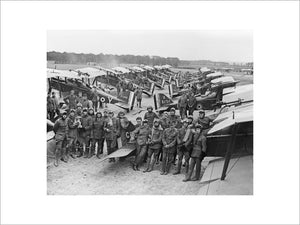Officers and S.E.5a Scouts of No. 1 Squadron, RAF at Clairmarais aerodrome near Ypres.