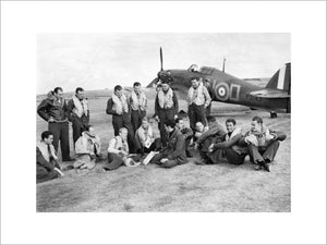 Pilots of No. 310 (Czechoslovak) Squadron RAF in front of Hawker Hurricane Mk I at Duxford, Cambridgeshire, 7 September 1940.