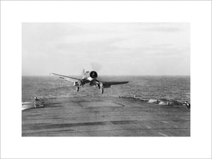A Chance-Vought Corsair landing aboard HMS ILLUSTRIOUS, December 1943.