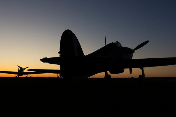 Hawker Hurricane at the Duxford Airfield during sunrise