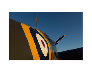 Supermarine Spitfire Mk Ia N3200 at the Duxford Airfield during sunrise