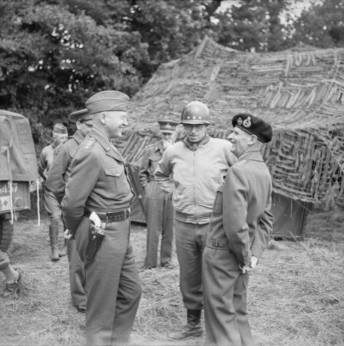 General Montgomery with Generals Patton (left) and Bradley (centre) at 21st Army Group HQ, Normandy, 7 July 1944.