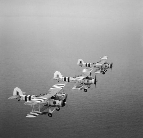Rocket-armed Fairey Swordfish on a training flight from RNAS St Merryn in Cornwall, 1 August 1944.