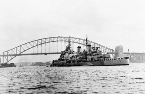 HMS BELFAST at anchor in Sydney harbour, August 1945.