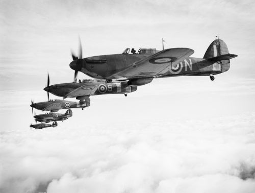 Hawker Sea Hurricanes of the Fleet Air Arm, based at RNAS Yeovilton, flying in formation, 9 December 1941.