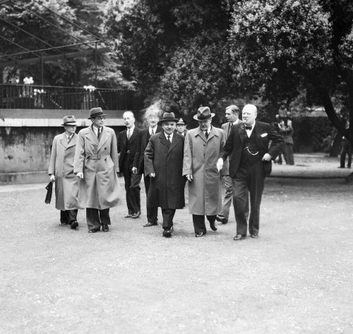 Winston Churchill with British and Soviet representatives, including Anthony Eden and Vyacheslav Molotov, in London following the signing of the Anglo-Soviet Treaty on 26 May 1942.