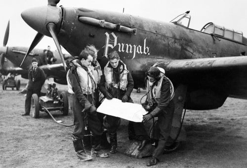 Pilots and Hawker Hurricanes of No. 56 'Punjab' Squadron RAF at Duxford, 2 January 1942.