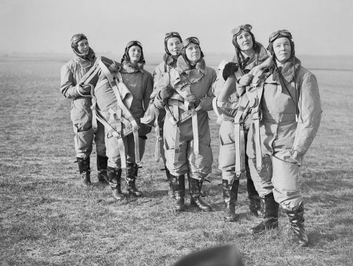 Women pilots of the Air Transport Auxiliary (ATA) in flying kit at Hatfield, 10 January 1940.