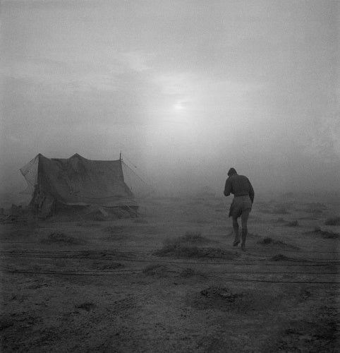 A soldier battling his way through a sandstorm in the Western Desert during 1942.
