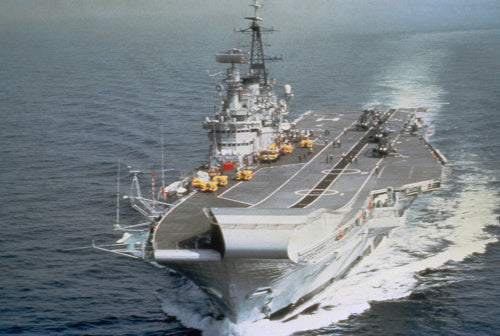 The Royal Navy aircraft carrier HMS HERMES underway in the 1980s.