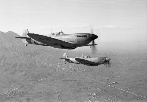 Supermarine Spitfire Mk IXs of No. 241 Squadron RAF return to their base at Madna, south-east of Campomarino, Italy, after a weather reconnaissance sortie over the Anzio beachhead, 29 January 1944.