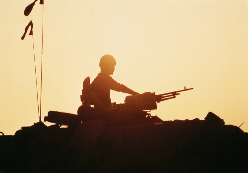 Silhouette of a British Challenger tank commander during the Gulf War, 1991.