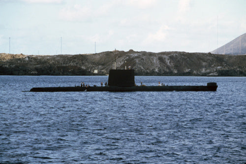 The Oberon class submarine HMS ONYX off Ascension Island, 12 May 1982.