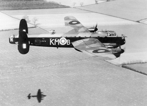 Avro Lancaster Mk I of No.44 (Rhodesia) Squadron, 14 April 1942, while practising for the daylight, low-level attack on the M.A.N. diesel engineering works at Augsburg which took place three days later on 17 April.