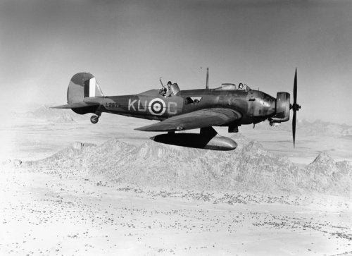 Vickers Wellesley Mk I of No. 47 Squadron RAF in flight over the mountains of Eritrea, 1941.
