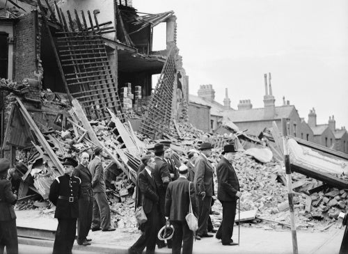 Winston Churchill visiting bomb-damaged areas of the East End of London, 8 September 1940.