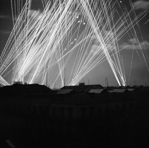 Allied anti-aircraft fire over Algiers during a night raid, 23 November 1942.