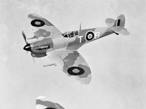 A Supermarine Spitfire Mk VC of No. 249 Squadron RAF in flight over Egypt, 1942.