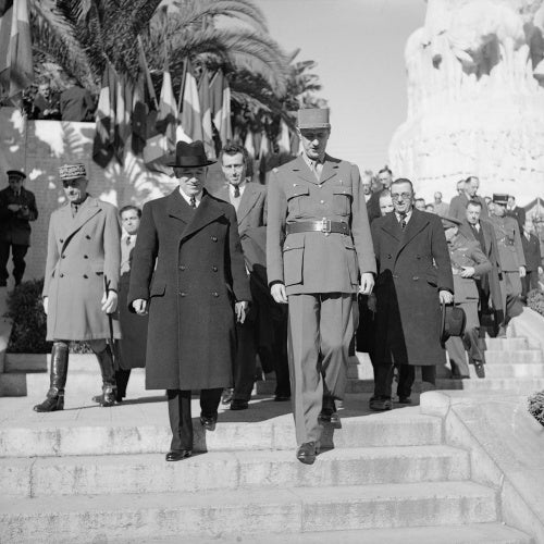 General Charles de Gaulle with Czechoslovak President-in-exile Dr Benes in Algiers, 3 January 1945.
