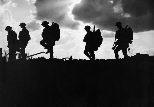 Men of the 8th Battalion, East Yorkshire Regiment going up to the line near Frezenberg during the Third Battle of Ypres, 1917.