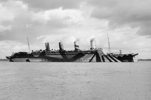 The liner RMS ACQUITANIA dazzle-painted during her role as a troopship during the First World War.