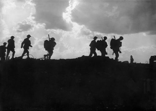 Men of the East Yorkshire Regiment crossing newly won ground at Frezenburg in 1917 during the Third Battle of Ypres.