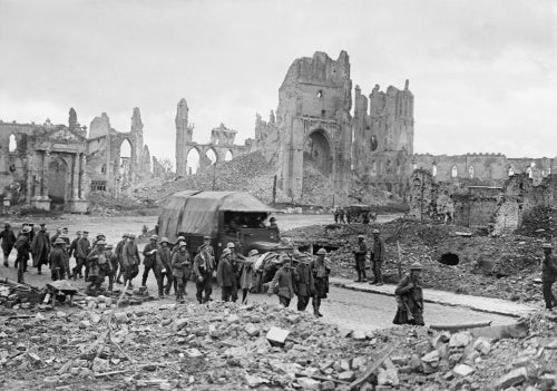 German prisoners being marched through the Cathedral Square, Ypres, 20th September 1917.
