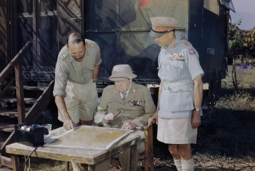 Winston Churchill discussing the battle situation in Italy with the Commander of the Eighth Army, Lieutenant General Sir Oliver Leese (left) and the Supreme Allied Commander Mediterranean, General Sir Harold Alexander, 26 August 1944.