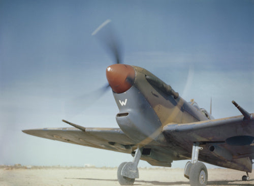 Air Officer Commanding Malta, Air Vice Marshal Sir Keith Park, in the cockpit of his personal Supermarine Spitfire V before his ceremonial take-off at Malta's new aerodrome at Safi, May 1943.