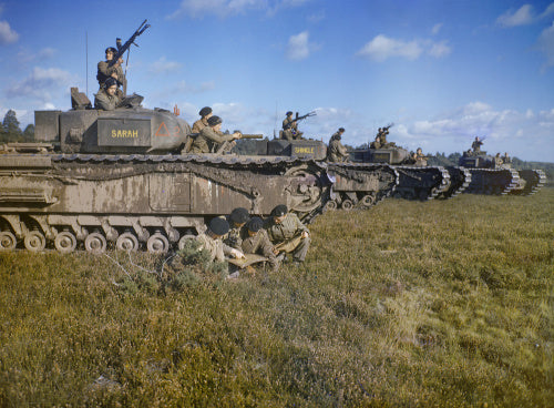 Churchill tanks of 43rd Battalion, Royal Tank Regiment on manoeuvres in the UK, October 1942.